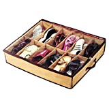 #8: AVMART 12 Pairs Shoes Storage Bag Under Bed Storage Bag with Transparent Cover Organizer