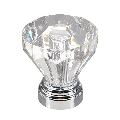 RanDal 4Pcs 25Mm Diamond Clear Crystal Glass Door Knobs Schub-Kabinett Panboard Pull Handle