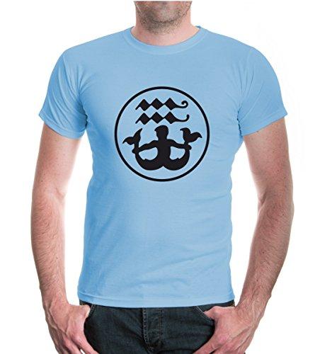 buXsbaum® T-Shirt Wassermann-Tierkreiszeichen Skyblue-Black