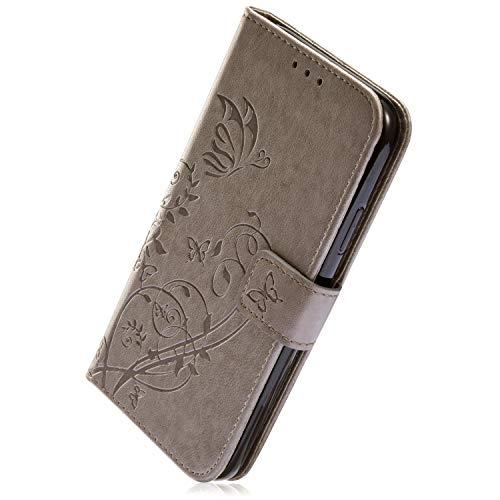 Herbests Kompatibel mit Samsung Galaxy A6 Plus 2018 Handyhülle Ledertasche Book Case Retro Schmetterling Blumen Muster Lederhülle Handytasche Leder Tasche Wallet Flip Cover mit Kartenfächer,Grau