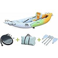 """Alice's Garden - Canoë kayak gonflable - Betta K0 monoplace - Bateau 10'3"""" 3,12m de long, 1 place eaux vives ou eau de mer avec gonfleur, pagaie et sac de rangement"""