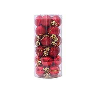 Naisicatar 1box (24pcs) Uso de múltiples Bolas de Navidad con Cadena Práctica Bola plástica inastillable Adornos del árbol de Navidad Bolas Rojas Mejor Regalo para la Navidad