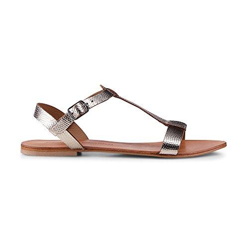 Cox Damen Sommer-Sandale Gold Leder 39 (Gold-leder Sandalen)