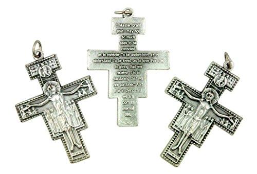 Silber Ton Saint Francis San Damiano Rosenkranz Kreuz Kruzifix, 17/20,3cm, Menge 3