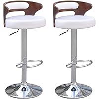 vidaXL Sgabelli bar Cut-out Pelle artificiale legno schienale basso bianco