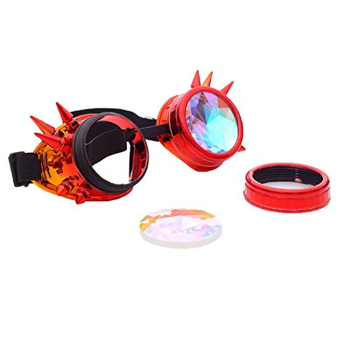 DODOING Kaleidoscope Goggles Weinlese-Art Gotische Retro Steampunk Cosplay Brille Glasses Welding Punk Brille (Rot-Orange)