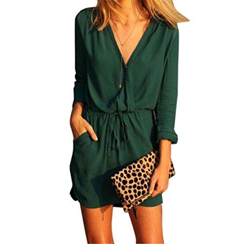 Loveso-Women Clothes Bekleidung Kleid Loveso Sommerkleid Damen Mode Elegantes Retro Einfarbig Langarm V Ausschnitt Grün Chiffon Kurz Kleid Strickjacke Outwear ((Größe):36 (M), Grün)