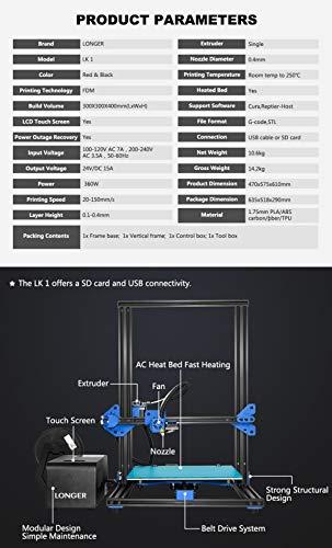 LK1 DIY 3D Drucker LONGER FDM Kit 300 * 300 * 400mm Große Druckgröße mit 2,8-Zoll-Vollfarb-Touchscreen - 3