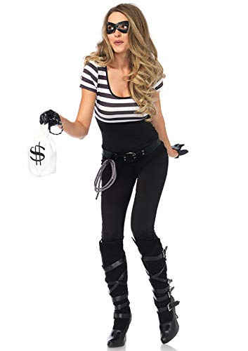 Kostüm Bankräuber - LEG AVENUE 85530 - Kostüm Set Bankräuber, Damen Fasching, Größe M, schwarz/weiß