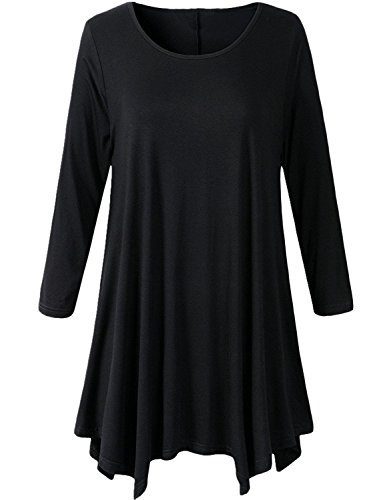 UMe Womens Plus Size Oversized Crewneck Long Sleeve Loose Fit Tunic Tops Tee Blouse