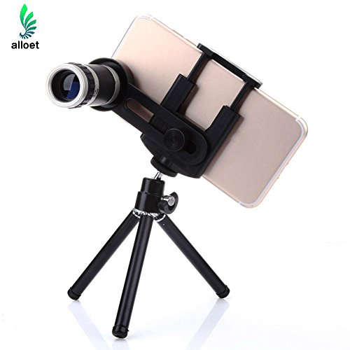 alloet 8x Zoom Telescope Camera Lens + Mobile Phone Mount Tripod Stand Holder For iPhone for Samsung Galaxy Smartphone