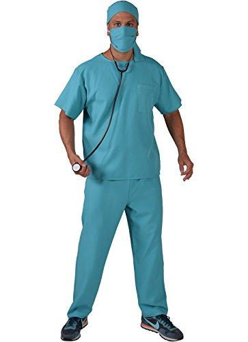 Arzt Kostüm Für Namen - Panelize Chirurg Arzt OP grüner Chirurgenkittel (L)