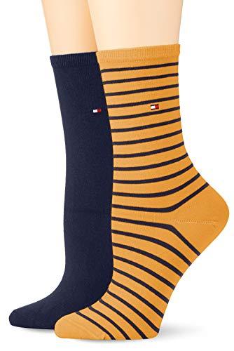 Tommy Hilfiger Damen TH WOMEN SMALL STRIPE 2P Socken, Mehrfarbig (Broker Brown 262), 39/42 (2er Pack)