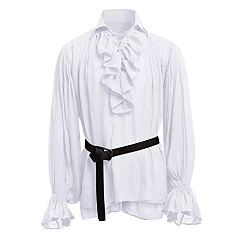 Time Cover LangäRmliges Herrenhemd Einfarbig GekräUselte Lange ÄRmel LäSsige Mode Revers Krawatte Oben Nationale Windjacke Mit GüRtel
