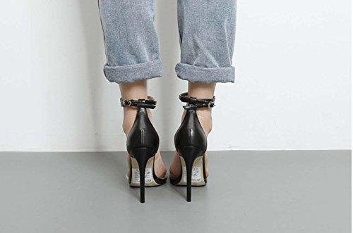 NobS Femmes Nouveau Transparent Couleur Cone Talons Talons hauts Chaussures Black