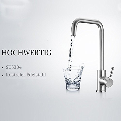Homelody 360° drehbar Wasserhahn Küche Einhebelmischer Spültisch Armatur Küchenarmatur Spültischarmatur Spülbecken Wasserkran Mischbatterie Spüle für Küchen - 3