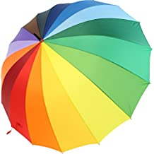 Paraguas XXL iX-Brella multicolor, de arcoiris, tamaño grande de 129 cm,