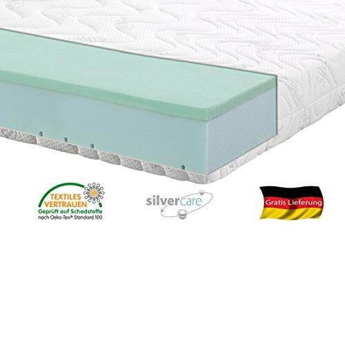 Silver Orthopädische 7 Zonen Premium Silver Care Visco Kaltschaum Matratze Höhe ca. 20 cm 140 x 200 cm H3 - Standard Doppeltuchbezug