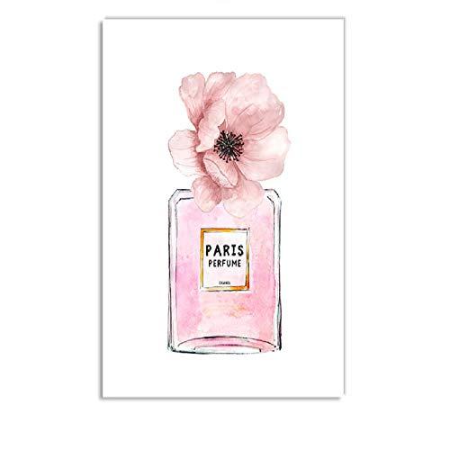 Rosa Mode Mädchen Parfüm Blume Tasche Nordic Poster Und Drucke Wandkunst Leinwand Malerei Wandbilder Für Wohnzimmer Dekor ein geschenk -