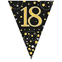 Oaktree UK Sparkling Fizz Black & Gold 18th Birthday Flag Bunting
