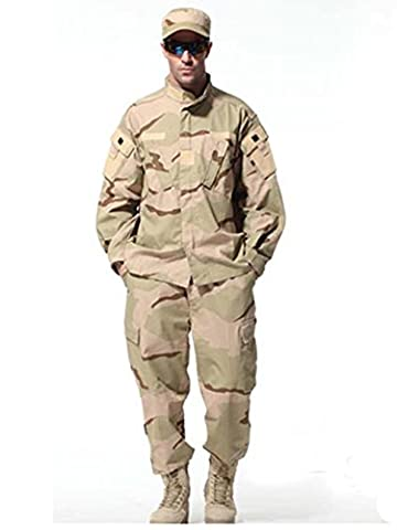 New Series Camouflage Suit Combat Bdu Uniform Military Uniform Bdu Hunting Suit Wargame Paintball Coat+Pants 6 Colors (Three Desert Camo, S)