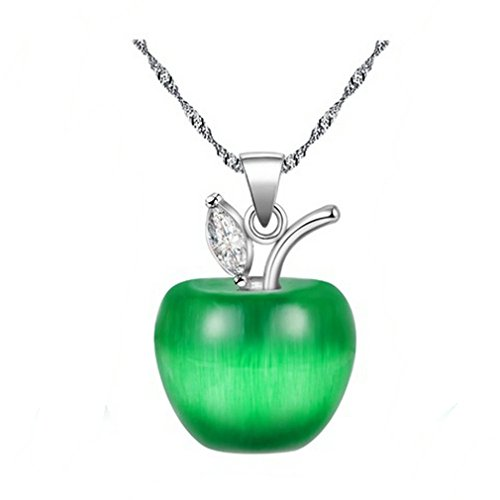 Uloveido Teacher Apple Halskette Weißes Gold Überzogenes Labor Erstellt Mondstein Apple Halsketten, Apple Anhänger Halskette Geschenke Für Frauen Lehrer YL007 (Dunkelgrün)
