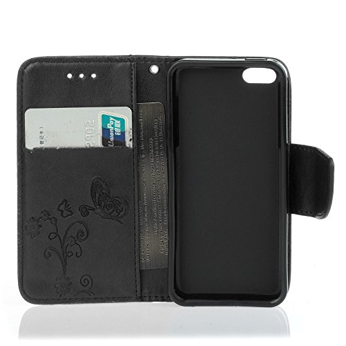Etsue iPhone SE,iPhone 5/5S Housse,Slim-Fit Folio Smart Case Coque Etui pour iPhone SE,iPhone 5/5S,Papillon Motif PU Leather Coque Stand Flip Housse de Protection pour iPhone SE,iPhone 5/5S + 1x Bleu  Noir Fleur et papillon