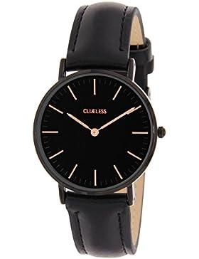 Lucardi - CLUELESS - Clueless horloge met zwarte leren band für Damen - Edelstahl