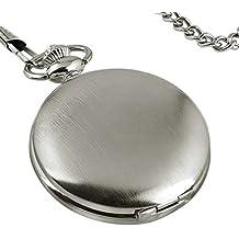 PIXNOR orologio da tasca mens caso vuoto bianco quadrante in acciaio numeri arabi con confezione regalo
