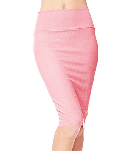 Urbancoco Damen Bleistift Rock Kurz Hohe taille Stretch Business Rock (XL, pink)