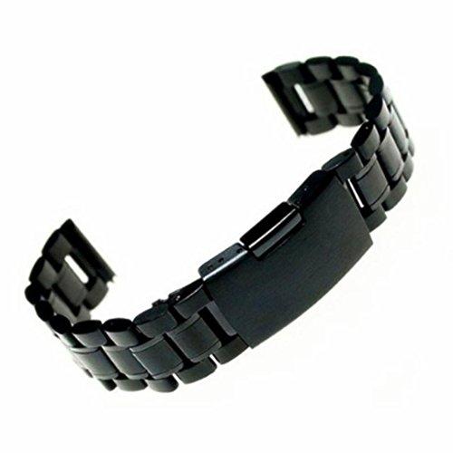 Dasongff Uhrenarmbänder Edelstahl Schwarz Uhrarmband mit Faltschließe Metall Uhr Armband 18mm 20mm 22mm Uhren Band Watch Strap Band (Schwarz-20mm)