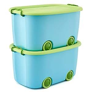 EZOWare Set da 2 Scatola portatutto Giocattoli, Contenitore Impilabile in Plastica Scatola di immagazzinamento con Coperchio y Ruote per Bambini Organizzatore, 50 L/Blu e Verde