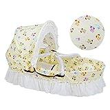 EEvER Moskitonetz für Bettüberdachung Tragbare Babywiege mit natürlicher Maisschale, Babyschlafkorb mit Quiltkissen und Moskitonetz, 0-8 Monate (Farbe : Yellow)