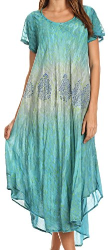 Sakkas 17802 - Samira Color Block Printed Sheer Mancherons Fit Relaxed Robe | Cover Up - Teal - OS