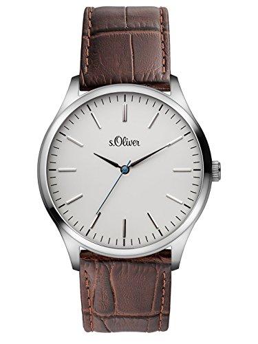 s. Oliver Men's Quartz Watch with Black Dial Analogue Display Quartz Leather 3171/LQ