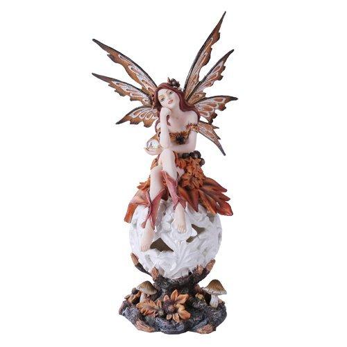 Herbst Fairie, sitzend zum Ändern Farbe LED ORB Meadow Mushroom Fairy Statue -