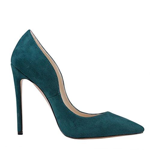 MERUMOTE , Chaussures à talon fin femme Vert - Dark Green-Suede