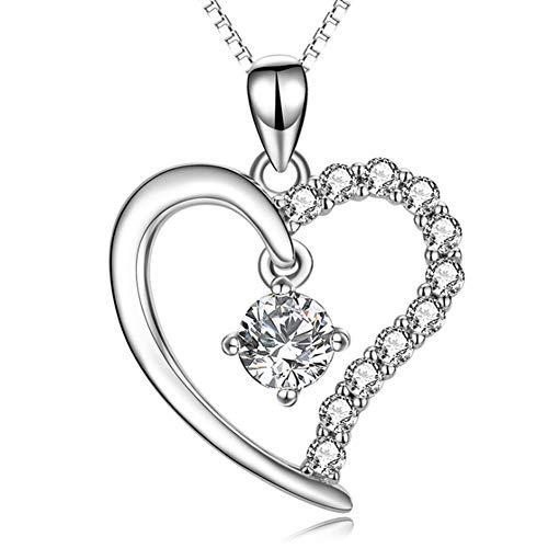 XINGYU Halsketten Fur Frauen Herz, Silber 925 Liebe Anhänger Mit Zirkonia Diamant Halskette Lange Moderne Personalisierte Schmuck Geschenke Valentinstag
