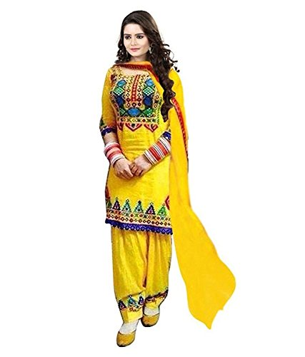 Navabi Export Girl\'s Festival Mega Sale Offer Pure Cotton Heavy Embroidered Semi-Stitched Patiala Salwar Suit Dresses With Dupatta (Yellow-Color)