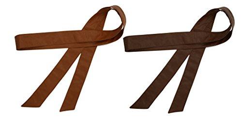 TY belt Damen Mädchen Obi PU Leder Gürtel Einfarbig Taillenband 70 Inch/172cm (tan kaffee) - Kind-tan-leder