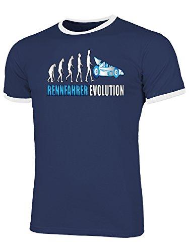 Rennfahrer Evolution 2025 Herren Ringer T-Shirt (HR=Navy-Weiss/AD=Blau) Gr. M (Rallye T-shirt Ringer)
