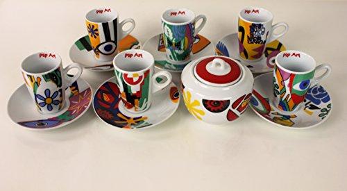 Servizio TAZZINE CAFFE' con 6 tazzine e ZUCCHERIERA, colorazione in stile Pop Art