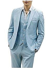 Aokaixi Mens Suit Slim Fit 3 Pieces One Button Wedding Suit Groom Tuxedos Prom Suit