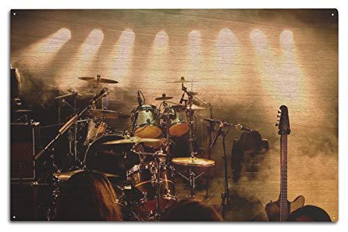 Lantern Press Instrumente auf Bühne mit Spotlights Fotografie A-90925 10 x 15 Wood Sign Multi
