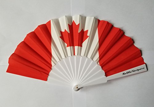 Kanada Flagge Stoff Hand Fan mit Weiß Faltbar Kunststoff Griff