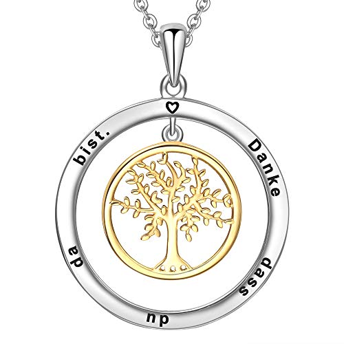 LOVORDS Damen Halskette Gravur 925 Sterling Silber Kreis Lebensbaum Kette Anhänger Geschenk für Mutter Mama Frauen Freundin Oma