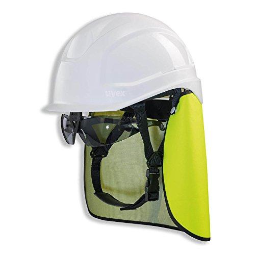 UVEX Schutzhelm pheos S-KR IES - Arbeitsschutz-Helm mit Schutzbrille und Nackenschutz - Set mit BG Bau Förderung - EN 397, Farbe:weiß