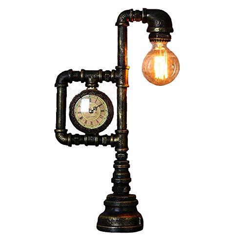 Tisch- / Schreibtischlampe, Steampunk Retro Industrie Rost Eisen Wasserpfeifen Nachttisch Deko Steam Punk Loft Interior Design Minimalistischer Viktorianischer Edison Retro Beleuchtung Lampen (Uhrenst - Lampe Viktorianische Tisch Lampe