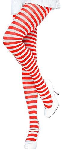 Leg Avenue Damen plus size Strumpfhose quer geringelt weiß rot Einheitsgröße ca. 46 bis 48