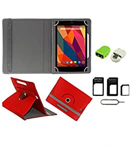 Gadget Decor (TM) PU Leather Rotating 360° Flip Case Cover With Stand For HP 7 G2 1311 Tablet + Free Robot USB On-The-Go OTG Reader + Free Sim Adapter Kit - Red